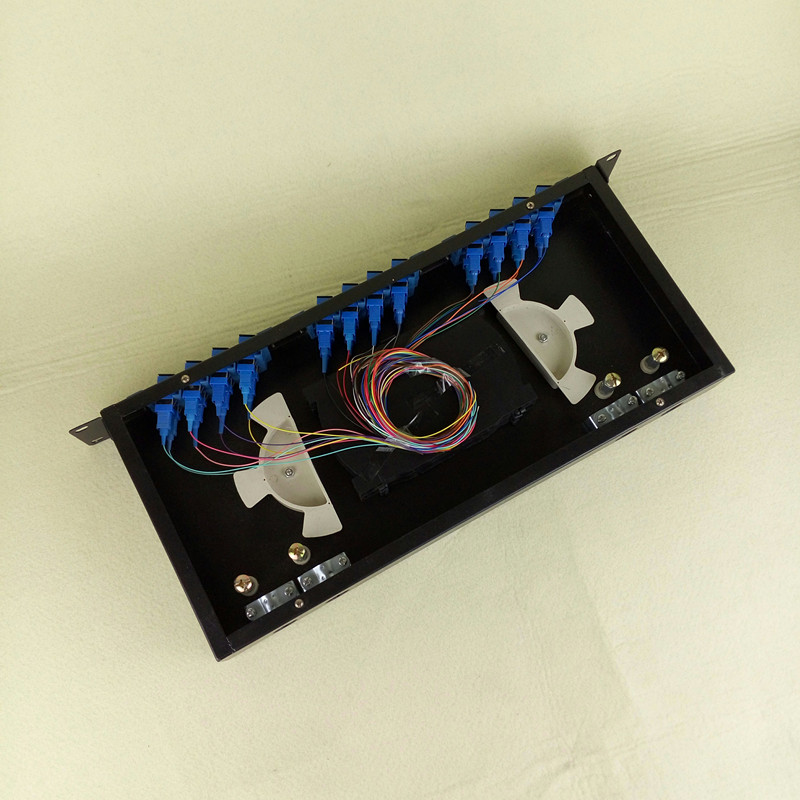 24口光纤盒接线盒sc方口机架式光纤终端盒光纤接线盒