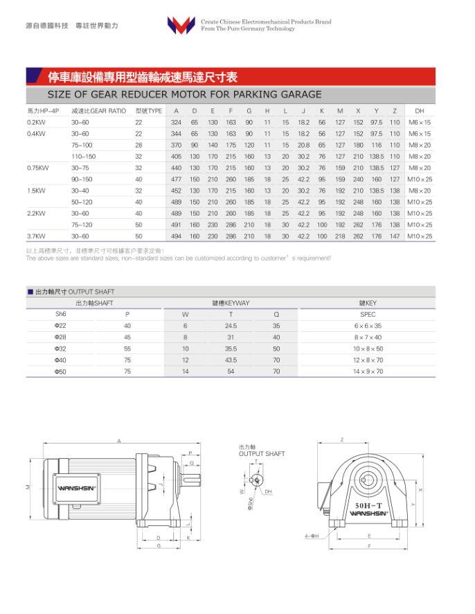 停车库专用减速机选型表